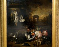 Jan Weenix Fleurs et gibier mort devant un paysage, Tablou natura moarta, tablou natura statica