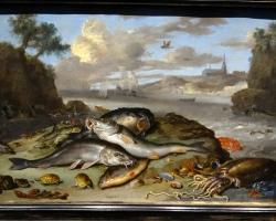 Jan van Kessel Still life with fish and marine creatures in a coastal landscape, Tablouri cu pesti i