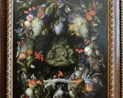 Jan van den Hecke Garland of Fruit around a medallion with Putti, Tablouri cu flori Realizate la