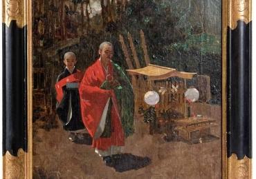 Japanese Monks in a Landscape by Francis Neydhart, , Tablou cu peisaj de vara, tablou cu parc