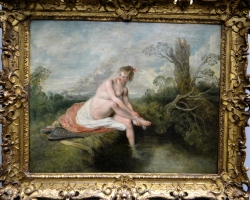 Jean Antoine Watteau Diana at her bathtablou peisaj de vara si cu femeie nud langa lac, Tablouri Pictori Celebri, Reproduceri Celebre