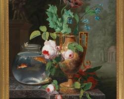 Jean Baptiste Berre 1489, Vas cu trandafiri, tablou cu flori roz si vas de sticla cu pesti aurii, tablou cu flori din gradina, tablou floral