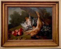 Jean-Baptiste Oudry Still Life with Dead Game and Peaches, tablou cu natura moarta, tablou cu iepure, tablou cu piersici, tablou cu pasai