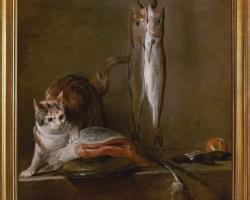 Jean Baptiste Simeon Chardin Still Life Witht And Fish, Tablou natura moarta cu peste, tablou natura statica cu pisica