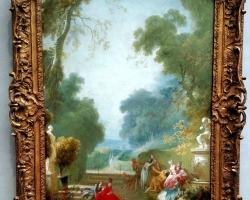 Jean Fragonard A Game of Hot Cockles 1775tablou peisaj de vara cu parc si nobili, Tablouri Pictori Celebri, Reproduceri Celebre