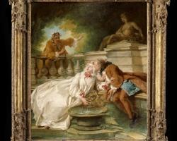 Jean François de Troy, The alarm 1723, tablou peisaj de vara, Peisaj cu indragostiti, Tablouri Pictori Celebri, Reproduceri Picturi Celebre
