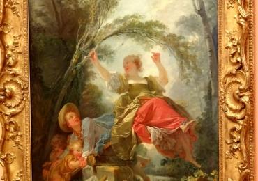 Jean Honore Fragonard The SeeSawtablou peisaj de vara cu femeie in leagan, tablou peisaj pastoral, Tablouri Pictori Celebri