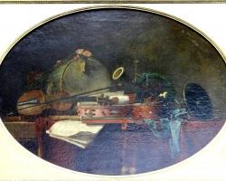 Jean-Simeon Chardin The attributes of civilian music, Tablou natura moarta cu instrumente muzicale, tablou natura statica cu vioara