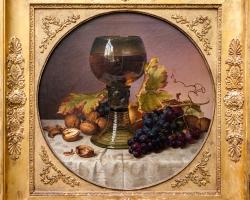 Johann Wilhelm Preyer still Life of Fruit, 1833, Tablouri cu vin struguri si nuci Realizate la Com