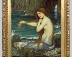 John William Waterhouse RA 'A Mermaid, Tablou cu peisaj marin, tablou cu sirena la malul marii, tablou cu femeie pe plaja