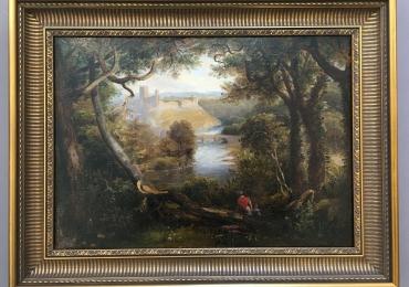 John Wilson Carmichael, Castle woodland landscape, Tablou cu peisaj de vara, tablou cu lac langa padure, peisaj din natura