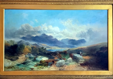Joseph Horlor Exceptional Very Large Welsh Landscape. Tablou pictat manua