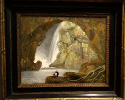 Joseph Wright of Derby Neptune's grotto at Tivoli, , Tablou cu peisaj marin, tablou cu pestera, Tablou cu peisaj de vara, tablou cu cascade, tablou cu padure si apa curgatoare, peisaj din natura
