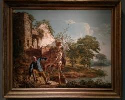 Joseph Wright of Derby, The Old Man and Death, Tablou cu peisaj de vara, tablou cu rau, tablou lac langa padure, peisaj din natura, tablou cu poveste