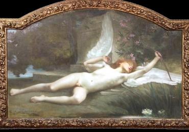 Jules-Louis Machard Dream of Eros Exceptional Oil PaintingTablou cu peisaj de vara, tablou lac langa padure, peisaj din natura cu ingeras