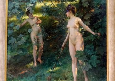 Julius Leblanc Stewart Nymphes de Nysatablou peisaj de vara cu gradina de flori, Tablouri Pictori Celebri, Reproduceri Picturi Celebre