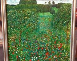 Klimt Poppy Field,  tablou peisaj de vara, Reproduceri pictori celebri, tablou cu camp de maci