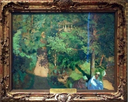 Konstantin Andreyevich Somov, Confidente in parc, tablou peisaj de vara, Reproduceri pictori celebri