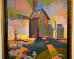 Kuno Veeber Windmills, tablou peisaj de vara cu moara de vant, pictura multicolora, Tablouri Pictori Celebri, Reproduceri Picturi Celebre