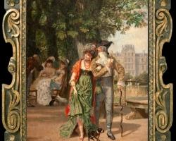Léon Joseph Voirin, Promenade au jardin des Tuileries, Tablou cu peisaj de vara, tablou cu parc, tablou cu flori, peisaj din natura, tablou cu indragostiti in peisaj de vara
