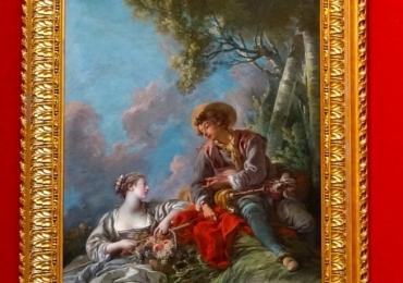 L'Aimable Pastorale François Boucher, 1762 , tablou peisaj de vara, tablou cu indragostiti, Tablouri Pictori Celebri