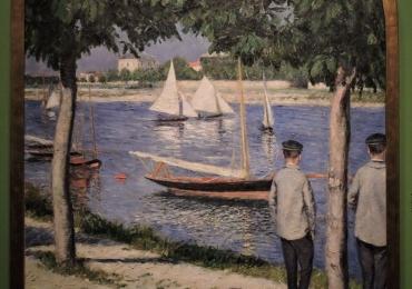 La berge du petit Gennevilliers et la Seine , tablou peisaj de vara, tablou peisaj cu lac, tablou peisaj cu barci,Tablouri Pictori Celebri, Reproduceri