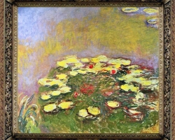 Lac cu fiori, Claude Monet Nymphèas, tablou cu flori de nuferi, tablou cu flori de toamna, tablou floral