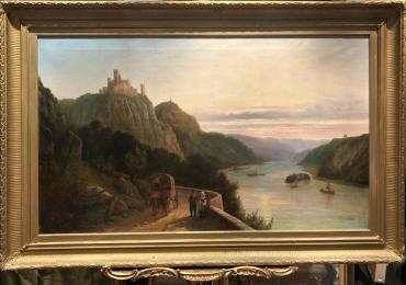 Landscape Antique Painting, tablou cu peisaj de vara, tablou cu lac, tablou cu castel, tablou cu munti