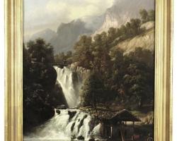 Landscape artist Franz Adolf Christian Mulle. Tablou pictat manual in ulei pe