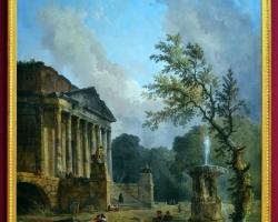 Landscape with Ruins of a Roman Temple, Hubert Robert 1773,  tablou peisaj de vara, Reproduceri celebre, tablou cu fantana arteziana si ruine
