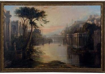 Large Italian Capriccio Oil Painting, Tablou cu peisaj de vara, tablou cu rau, tablou lac langa padure, peisaj din natura, tablou cu apus