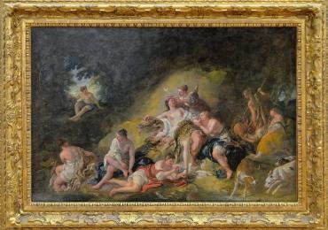 Le Repos de Diane, Jean François de Troy, 1726, peisaj de vara cu oameni, tablou cu nobili, tablou cu peisaj de vara, tablou rococo