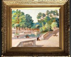 Le jardin de la Fontaine, Nîmes, Tablou cu peisaj de vara, tablou cu parc, tablou cu flori, peisaj din natura, tablou cu oameni in peisaj de vara