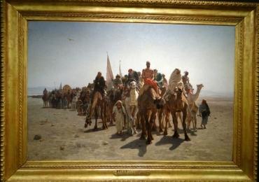 Leon Belly, Pelerins allant a La Mecque, Tablou cu peisaj oriental, tablou Exodul, tablou cu camile, tablou cu oameni