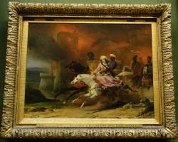 Leon Cogniet, Rebecca and Sir Brian de Bois Guilbert, Tablou oriental, tablou cu scena de razboi, tablou cu arabi