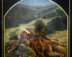Leon Frederic L'Age d'or  le nuit, Tablou celebru cu familie de pastori, tablou cu oameni facandu-si siesta, tablou cu oi, Tablou superb