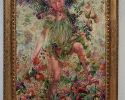 Leon Frederic The Four Seasons Fall, Tablou din seria Cele patru anotimpuri, peisaj de toamna cu fructe, Reproduceri Picturi Celebre