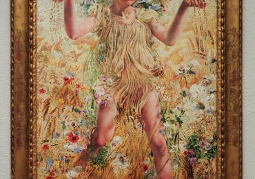 Leon Frederic The Four Seasons Fall, Tablou din seria Cele patru anotimpuri, peisaj de vara cu grau si flori de camp, Reproduceri Picturi Celebre