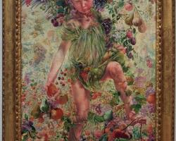 Leon Frederic The Four Seasons Fall, tablou cu copil, tablou cu anotimpuri, tablou cu peisaj de toamna, tablou cu fructe de toamna