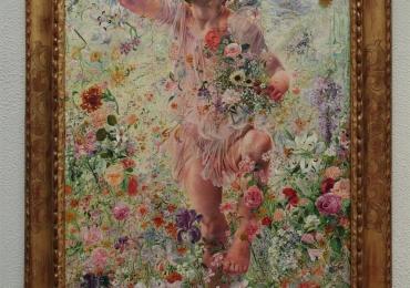 Leon Frederic The Four Seasons Spring, Tablou din seria Cele patru anotimpuri, peisaj de perimavara cu flori, Reproduceri Picturi Celebre