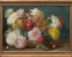 Liciano Bazanti, olja på duk, Vas cu fiori de gradina, tablou cu flori frumoase, tablou cu flori de toamna, tablou floral