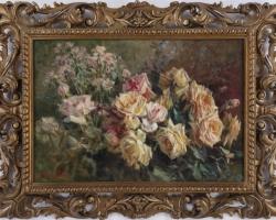 Licinio Barzanti, Buchet de flori, tablou cu flori in vaza, tablou floral, Tablou natura moarta, tablou natura statica,