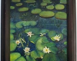 Lili Pond painting, Tablou cu peisaj de vara, tablou cu lac si nuferi albi, peisaj din natura, tablou cu flori