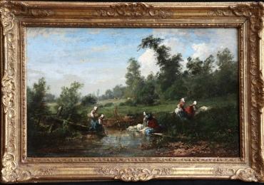 Louis Boulanger, washerwomen by a stream in the forestTablou cu peisaj de vara, tablou cu rau, tablou lac langa padure, peisaj din natura, tablou cu oameni la rau, peisaj rococo