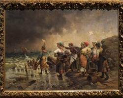 Louis Gartner, Harbour SceneTablou cu peisaj , tablou marin cu oameni la malul marii, peisaj din natura