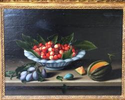 Louise MOILLON, Coupe de cerises, prunes et melons, Tablouri cu cireste si prune Realizate la