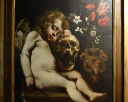 Luigi Miradori, called Il Genovesino Cupid sleeping, Tablouri cu ingeras craniu si flori Realizat
