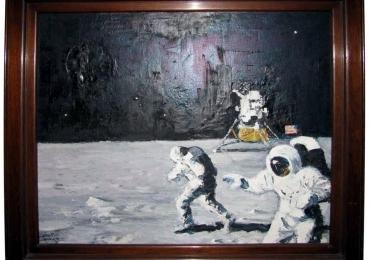 Lunar Landing Painting, tablou istoric, tablou cu oameni pe luna, tablou cu astronauti, tablou cu luna