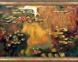 Luxury Line 'Water Lilies Claude Monet. Tabloyu cu nuferi pe lac. Tabloyu c