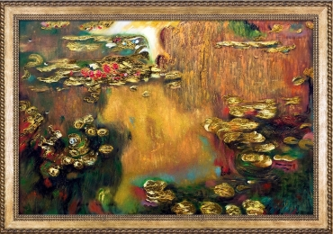 Luxury Line 'Water Lilies Claude Monet. Tabloyu cu nuferi pe lac. Tabloyu c